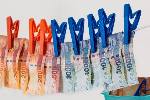money on a clothes line