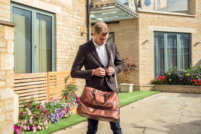 man with messenger bag
