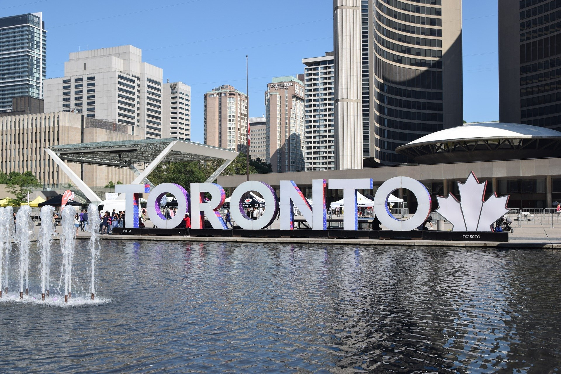 Toronto sign by City Hall