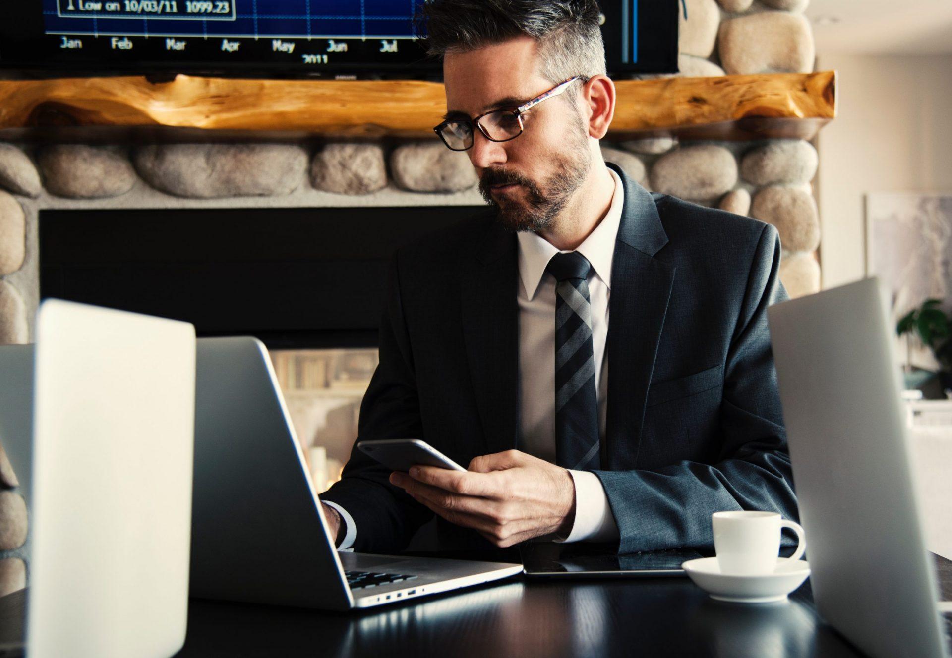 accountant at computer