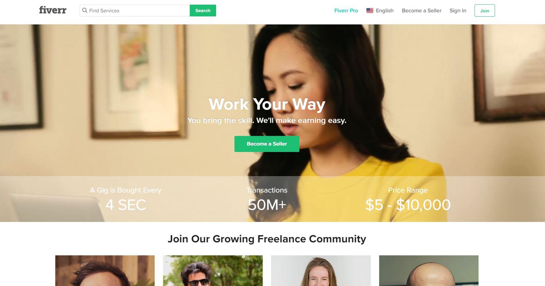 screenshot of Fiverr.com