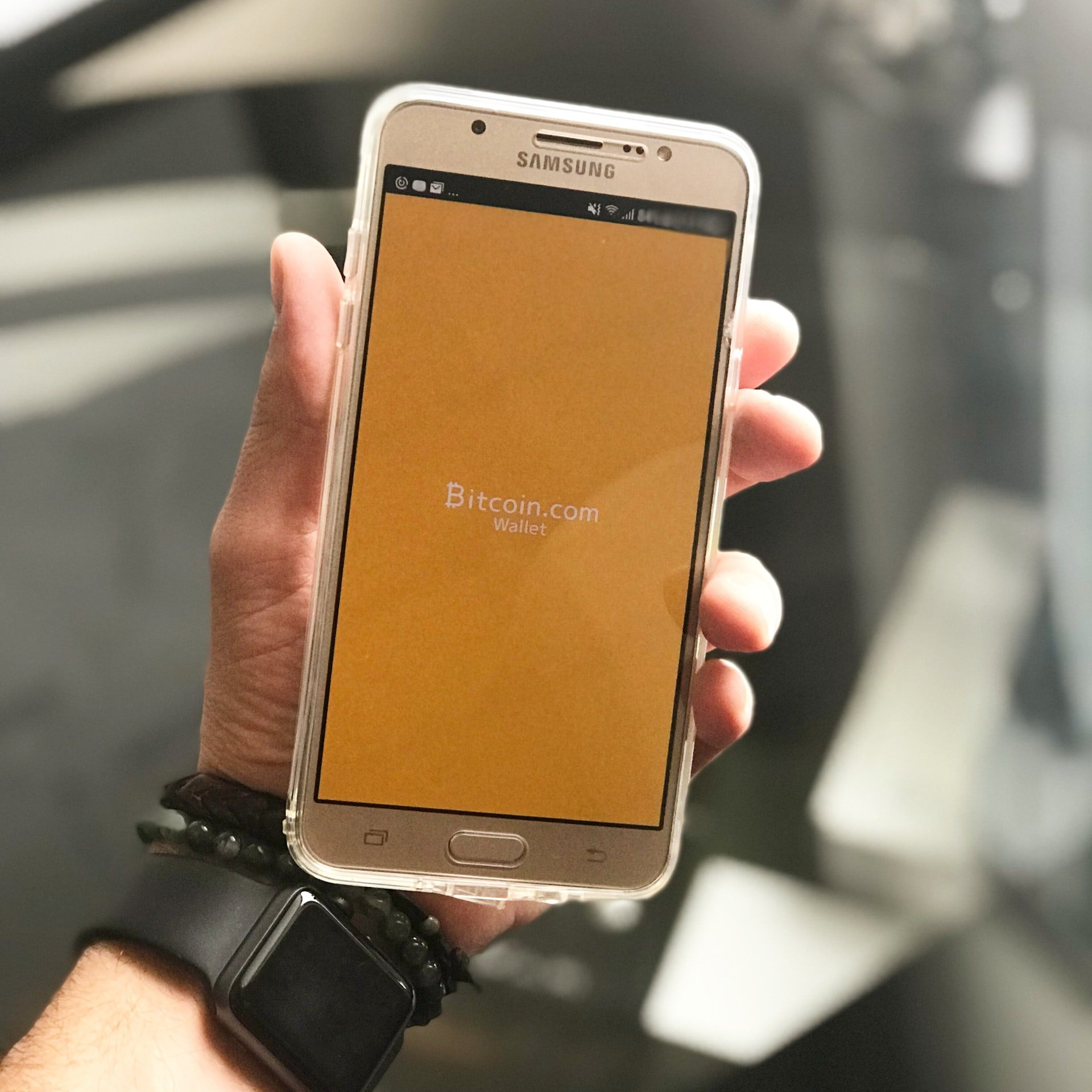 Phone with Bitcoin wallet app