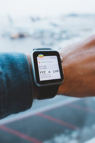 Apple Watch showing flight time