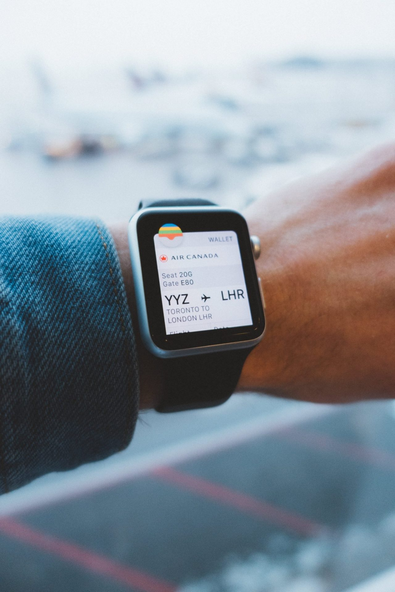 Apple Watch showing flight time
