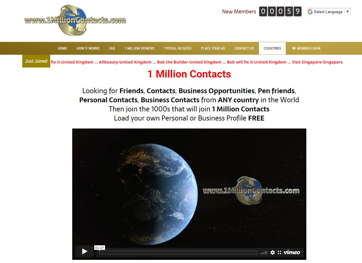 1 Million Contacts website